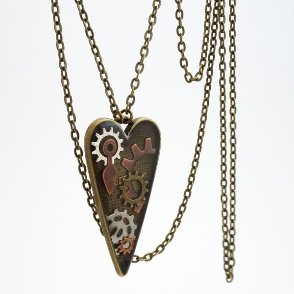 Heart Necklace | Steampunk Resin Pendant
