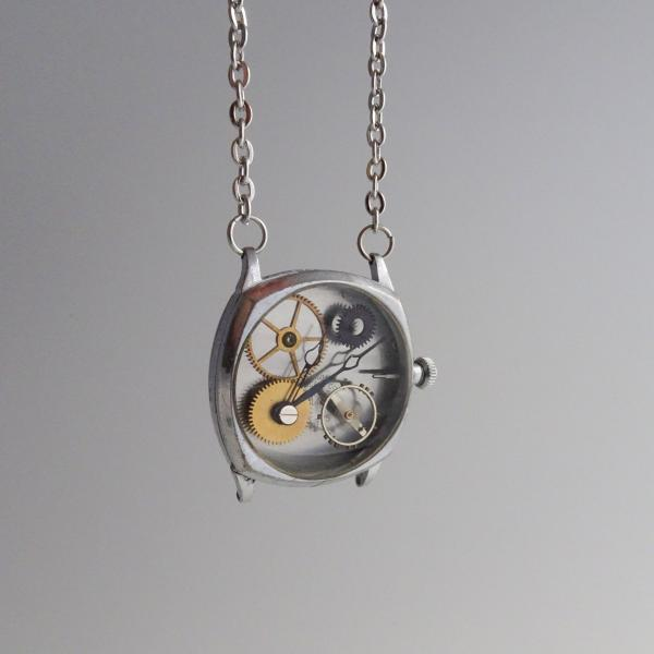 Steampunk Necklace | Real Vintage Watch Gears Set in Resin | Antique Silver
