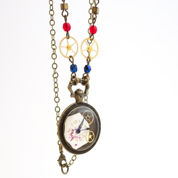 Steampunk Necklace | Real Vintage Watch Gears Set in Resin