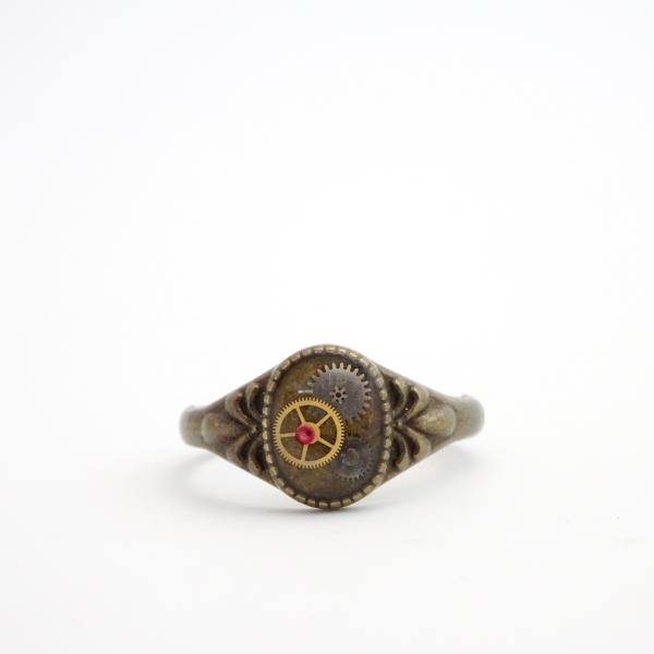 Petite Steampunk Ring | Antique Watch Parts and Watch Rubies in Resin picture