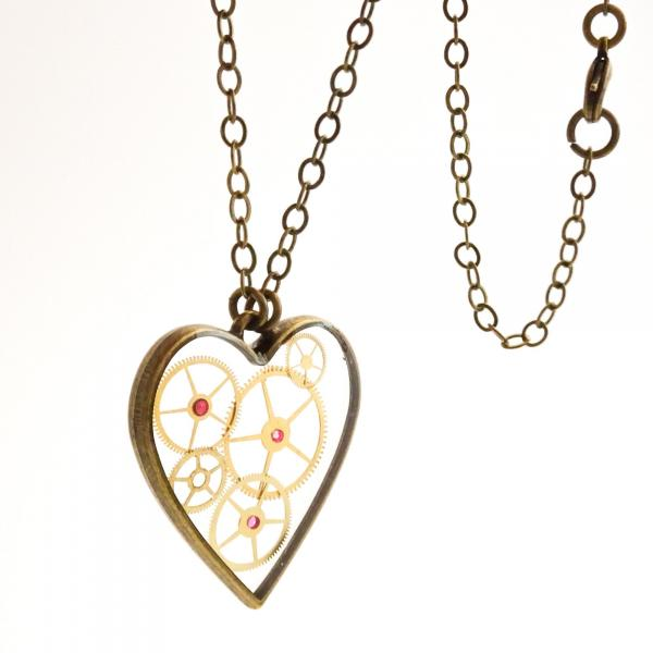 Steampunk Heart Necklace | Floating Vintage Watch Gears in Resin