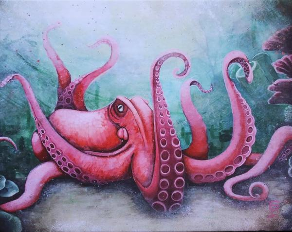 Pink Octopus on Canvas