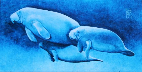 Manatee Family on Canvas