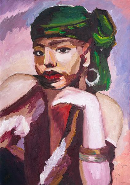 """Green Scarf"" oil on canvas portrait painting 19.7""x27.6"""