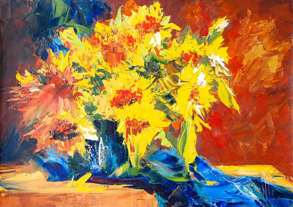 """Sunflowers on Blue"" oil on canvas still life painting 27.6""x19.7"""