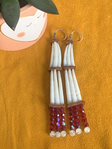 Red Dentalium Shell Two-Tiered Earrings