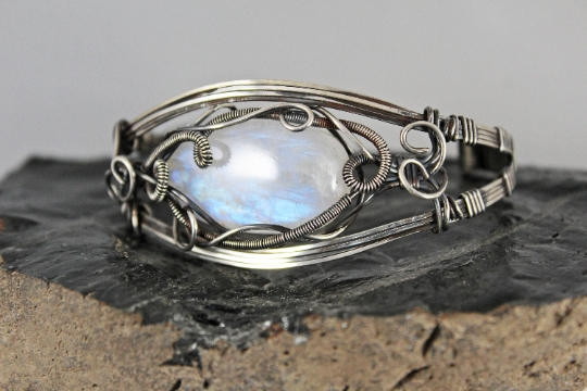 Sterling Silver Rainbow Moonstone Cuff picture