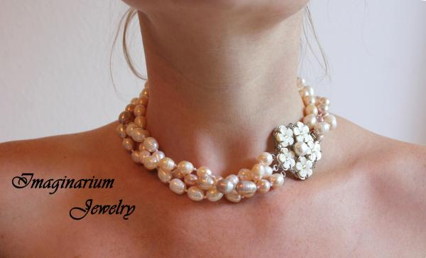 White, Peach, And Mauve Three Strand Twisted Freshwater Pearl Necklace With Flower Box Pearl Clasp picture