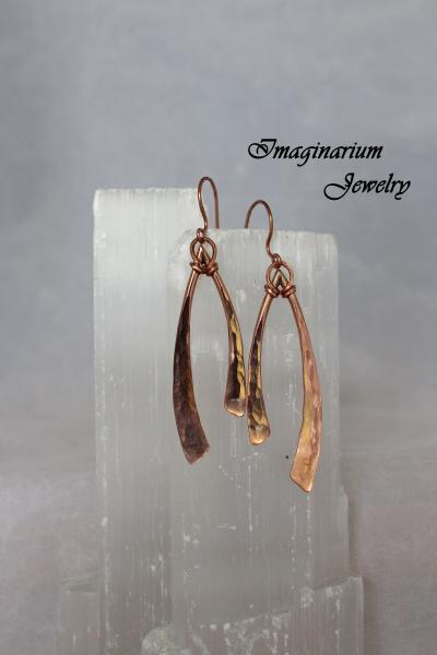 Raw Copper Soldered, Hammered, and Lacquered Earrings