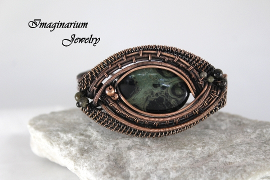 Kambaba Jasper and Tourmaline Intricately Woven Copper Wire Wrapped Cuff With Hammered Clasp