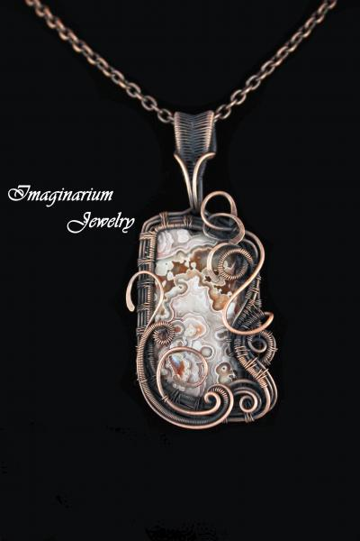 Sangria Lace Agate Copper Wire Wrapped and Woven Pendant