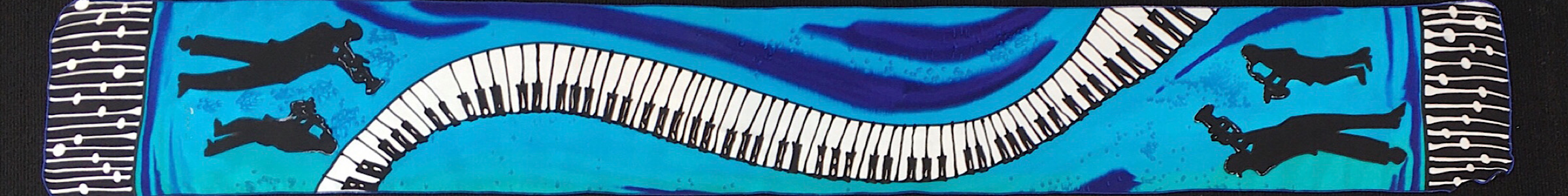 "8"" x 60""  BLUES PIANO scarf"