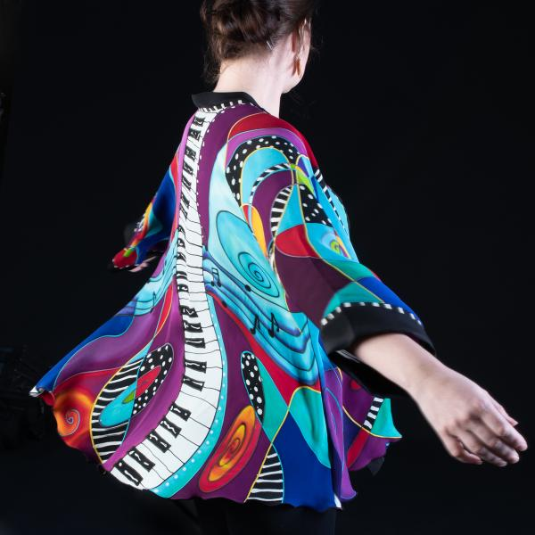 Hand Painted Silk Jacket in JAZZ PIANO design