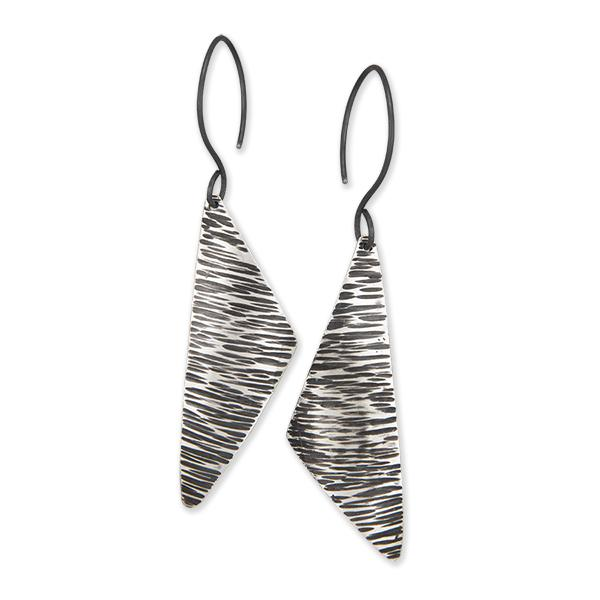 Asymmetrical Earrings - Hammered Texture