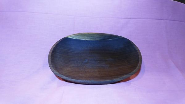 Oval walnut wooden bowl
