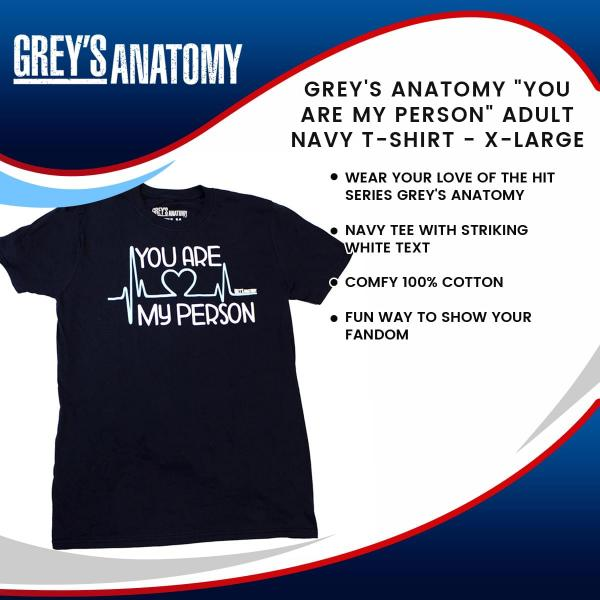 "Grey's Anatomy ""You Are My Person"" Adult Navy T-Shirt - XL picture"
