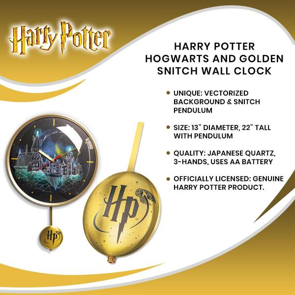 Harry Potter Hogwarts and Golden Snitch Wall Clock picture