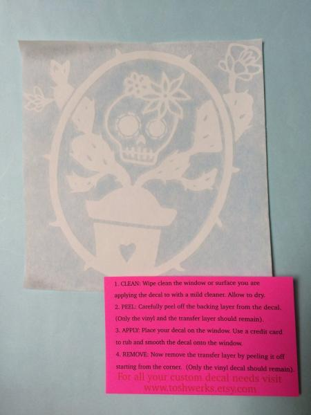 Day of the Dead skull and Cactus vinyl sticker decal picture