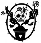 Day of the Dead skull and Cactus vinyl sticker decal