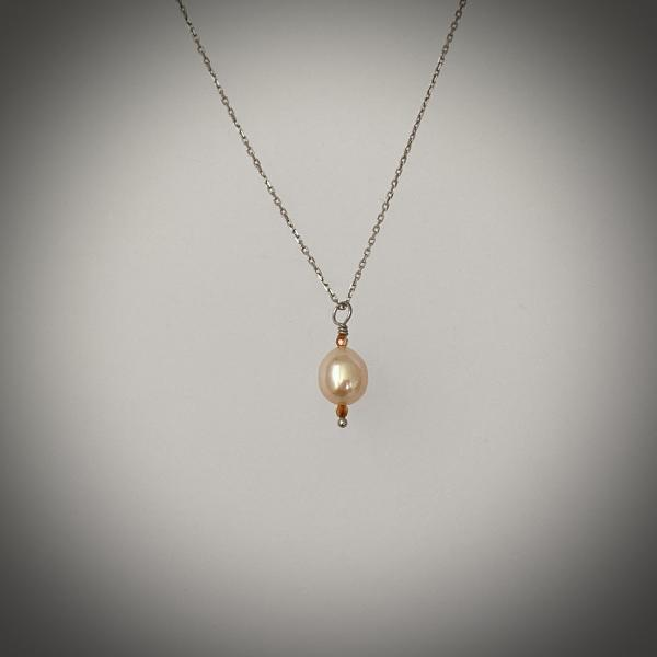 "Peach cultured drop pearl on 18"" sterling chain"