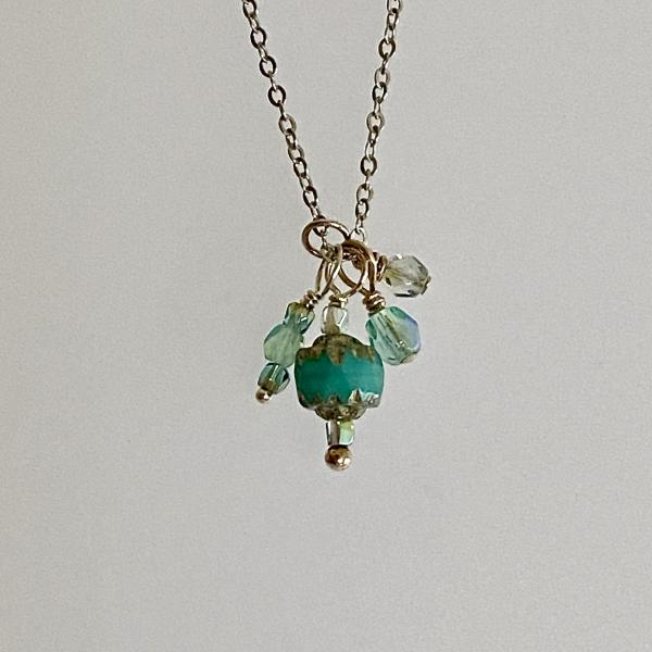 "18"" sterling trinket necklace with aqua blue glass charms"