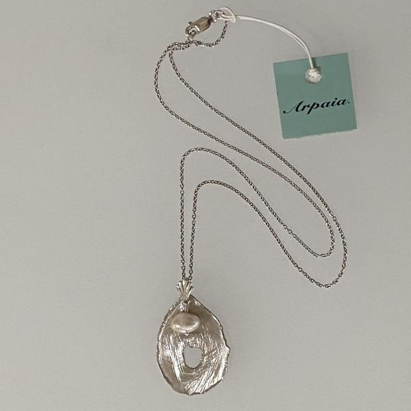"Pink keshi drop pearl & scratched silver pendant on 18"" chain picture"