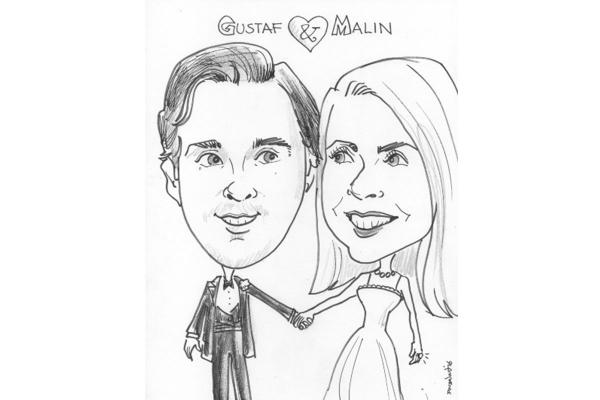 Caricature. 2 people. Black & white. Any activity.
