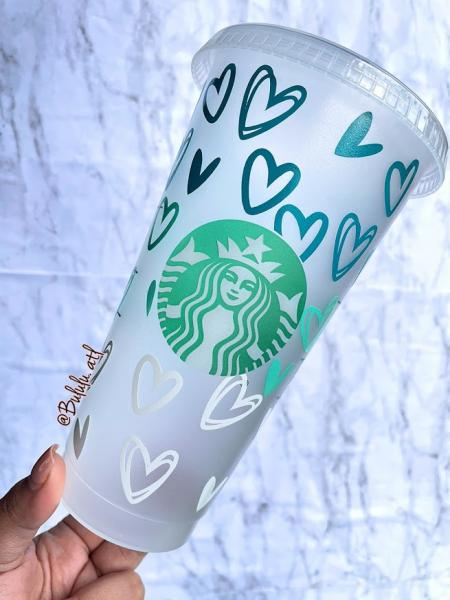 Ombre Hearts Custom Starbucks Cold Cups