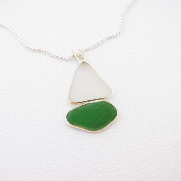 Green and White Sea Glass Necklace picture