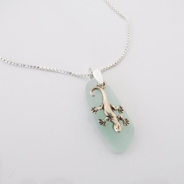 Soft Green Sea Glass Necklace With Curly Tail Charm