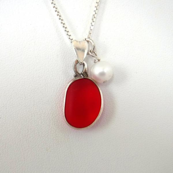 Red Sea Glass Necklace with Fresh Water Pearl