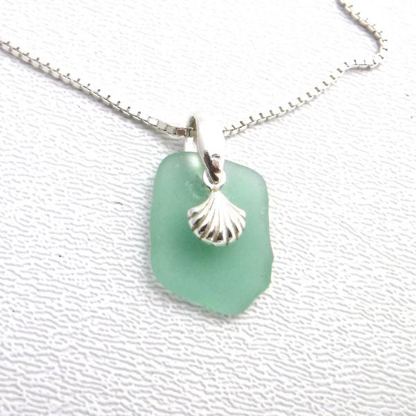 Dainty Mint Green Sea Glass Necklace With Shell Charm