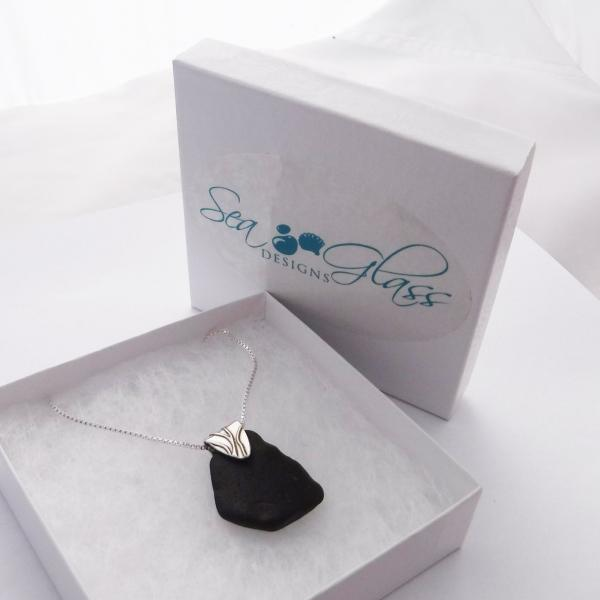 Black Sea Glass Necklace with Bail picture