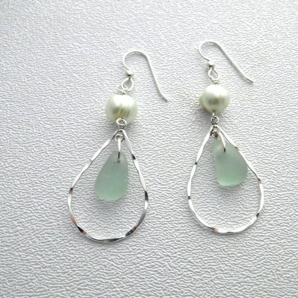 Mint Green Teardrop Sea Glass Earrings