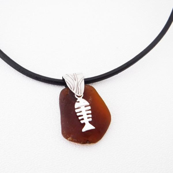 Amber Sea Glass Necklace With Bonefish