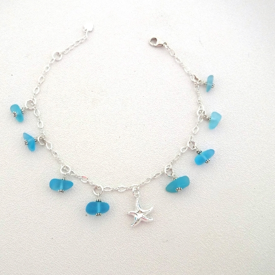 Turquoise Sea Glass and Starfish Dangle Anklet