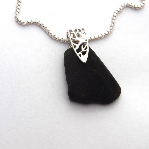 Rare Black Sea Glass Necklace with Filigree Branch-Patterned Bail