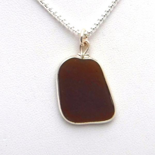 Chocolate Brown Sea Glass Necklace