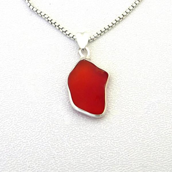 Cherry Red Sea Glass Necklace picture