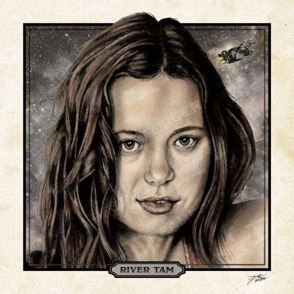 "River Tam 6"" x 6"" Hand-Drawn Custom Firefly Fan Art • Limited Giclée Print Run of 150 picture"