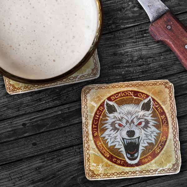 "The Witcher Italian Marble Coasters ""School of the Wolf"""