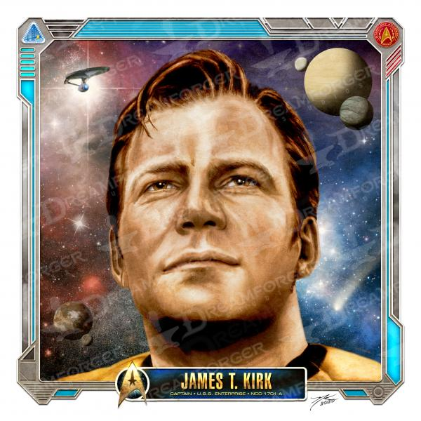 "Captain Kirk Limited Edition Star Trek Print • Starfleet Academy Character Profile 6 x 6"" Hand Drawn Art • Limited Giclee Print"