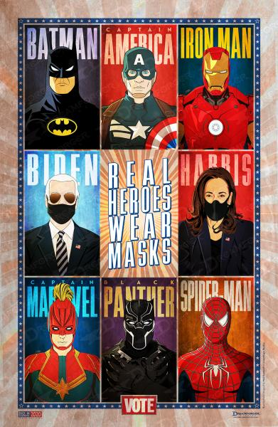 "Limited Edition ""Real Heroes Wear Masks"" 11"" x 17"" Political Poster • Biden/Harris 2020 • Minimalistic Superhero Illustrations"