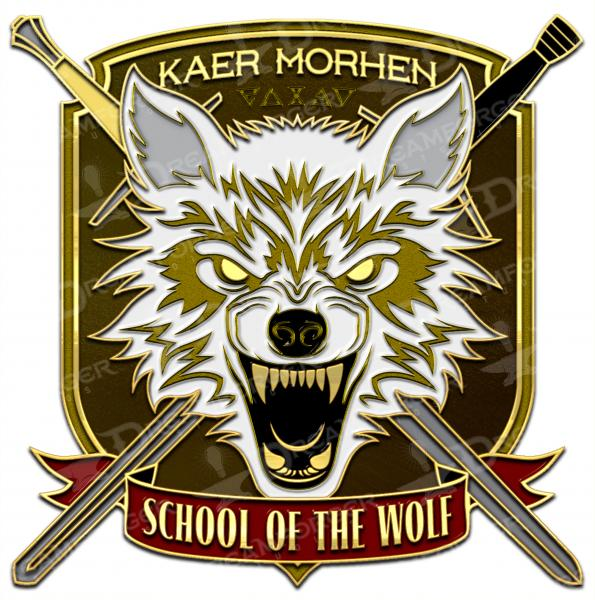 "The Witcher Antique Gold Metal Lapel Pin ""Kaer Morhen School of the Wolf"" picture"