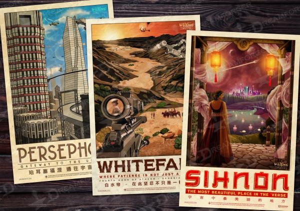 Firefly 11x17 Travel Poster Bundle (WuXing Travel Agency series) • Persephone / Whitefall / Sihnon