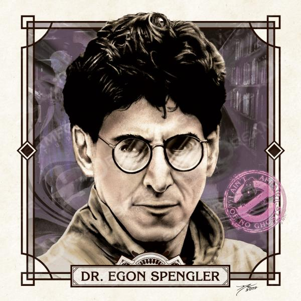 "Dr Egon Spengler 6"" x 6"" Hand-Drawn Custom Ghostbusters Fan Art • Limited Giclee Print"