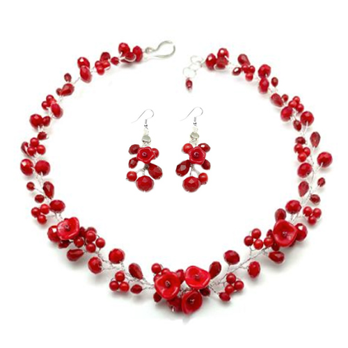 Hot Red Necklace  Earrings Set
