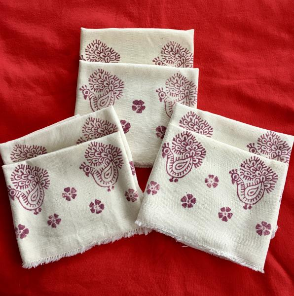 Hand printed table napkins with Indian floral wood block print