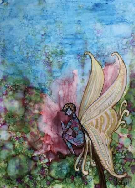 "Alcohol Ink painting of Tinker Bell on Yupo paper. Unframed in 8″x10″ Matt, painting size 5""x7"" protected with plastic sleeve"
