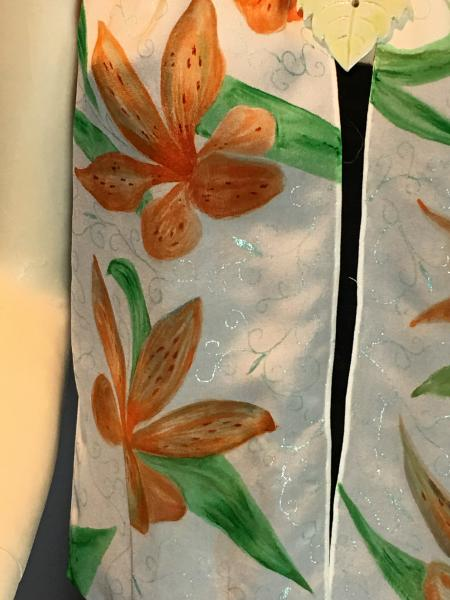 Hand Painted Orange Day Lilies on Crepe de Chine scarf